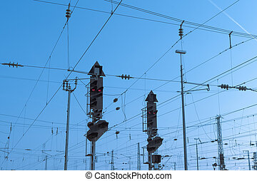 Railway Signal and Overhead Wiring - Red railway electric...