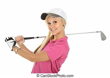 Pretty in Pink Golfer - Beautiful young blonde golf player...