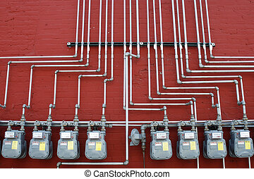 Gas meters at factory building