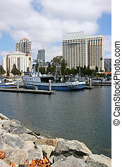 San Diego marina, California. - Fishing vessels and hotels...