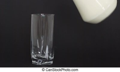 Glass of milk on a dark background