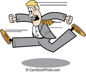Business man in suit running