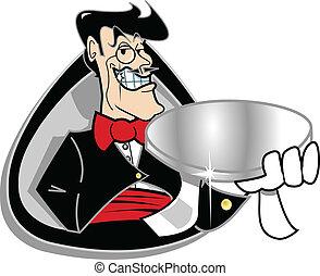 Butler servant holding silver tray - Butler, servant or...