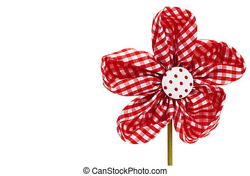 red drapery flower blossom on white background