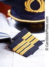 profesional, línea aérea, piloto, equipo