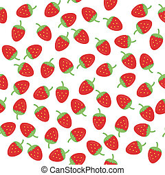 seamless background with strawberry on white vector...