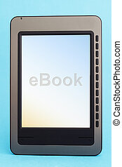 Ebook reader on a blue background