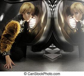 Female model in fur - Fashion portrait of a female fashion...