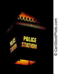Police station box at night - Lighted police station box at...