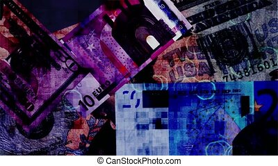 Grunge money - Background of dollar and euro notes Loopable...