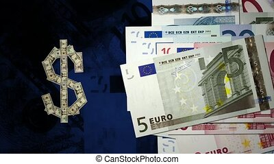 Exchange rate - A pile of dollar notes turns into a dollar...