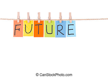 Future, Colorful words hang on rope