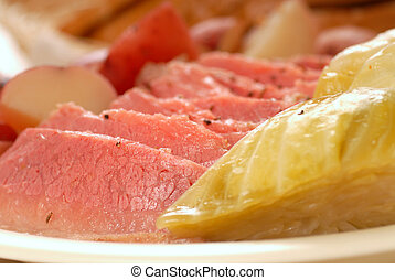Corned beef and cabbage dinner - Homemade corned beef and...