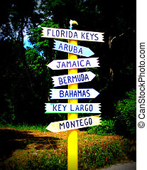 Tropical Destinations - sign to the tropics
