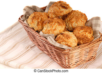 Basket of cheddar cheese biscuits - Basket of freshly baked...