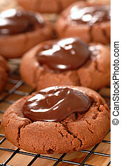 Cocao cookies with chocolate covered maraschino cherries -...