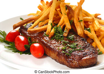 Steak and Fries - Freshly grilled steak with French Fries,...