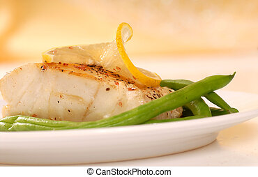 Sauted cod filet - Fresh sauted cod filet with green beans