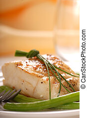 Cod filet - Fresh sauted cod filet with green beans and...