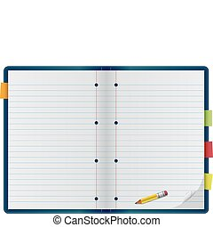 Collegiate Notebook - An open notebook with pencil, isolated...