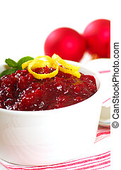 Cranberry sauce - Holiday cranberry sauce with Christmas...
