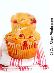 Cranberry muffins on napkin
