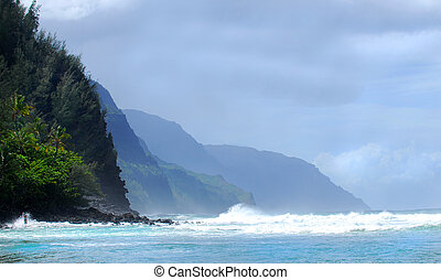 Shoreline of the Napali coast of Kauai Hawaii - The rugged...