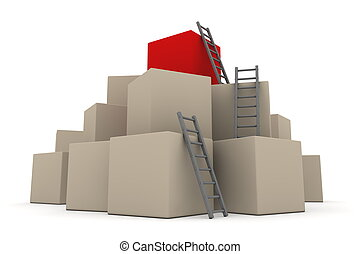 Batch of Boxes - Climb up with Grey Ladders