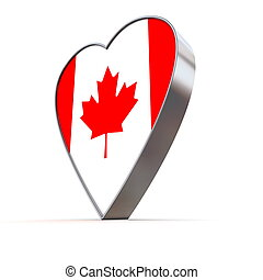 Solid Shiny Metallic Heart - Flag of Canada - shiny metallic...