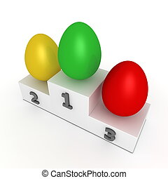 Victory Podium - Eggs in Green, Yellow, Red