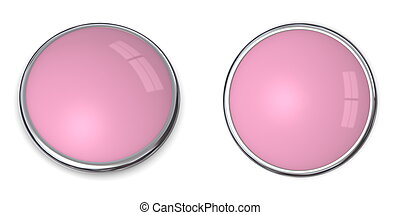 3D Button Solid Pink/Ros