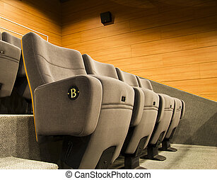 gray chair of a cinema or theater