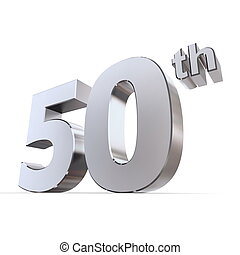 Shiny 50th - SilverChrome - shiny 3d number 50th made of...