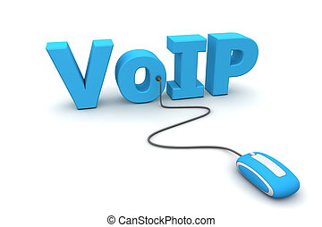 Browse Voice over IP - VoIP - modern blue computer mouse...