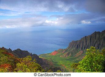 Napali valley along the coast of Kauai, Hawaii - Dramatic...