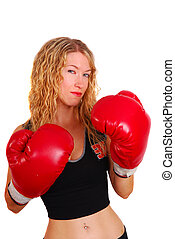Young woman wearing boxing gloves - Attractive young woman...