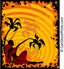 palms and African girl - summer banner with tropical palms...