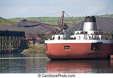 Ore ship at dock in Minnesota - Ore ship at iron ore mine on...