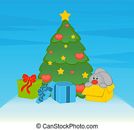 cartoon fir-tree with bunny