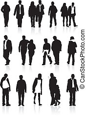 people silhouette set - A group of black silhouettes, highly...