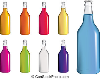 set of fizzy drinnk, soda or alcopop bottles - selection of...