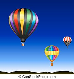 vector desert landscape with flying multicolored balloons