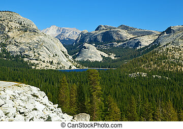 Valley in mountain park Yosemite - Valley in well-known...