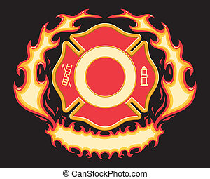 Firefighter Cross Flaming Banner
