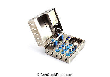 Instrument for dental implantology on a white background