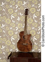 acoustic guitar retro on vintage 60s wallpaper wooden...