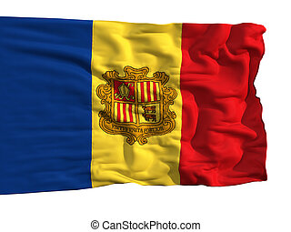 Flag of Andorra, fluttering in the wind. Sewn from pieces of...
