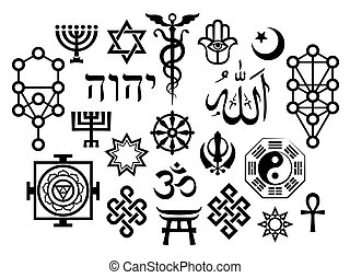 Oriental Sacral Religious Symbols with Additions