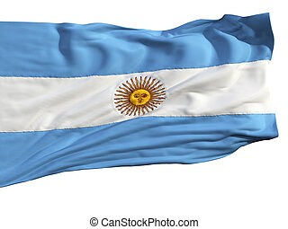 Flag of Argentina, fluttering in the wind Sewn from pieces...
