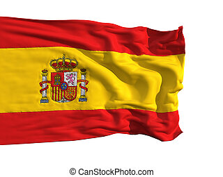 Flag of Spain, fluttering in the wind Sewn from pieces of...